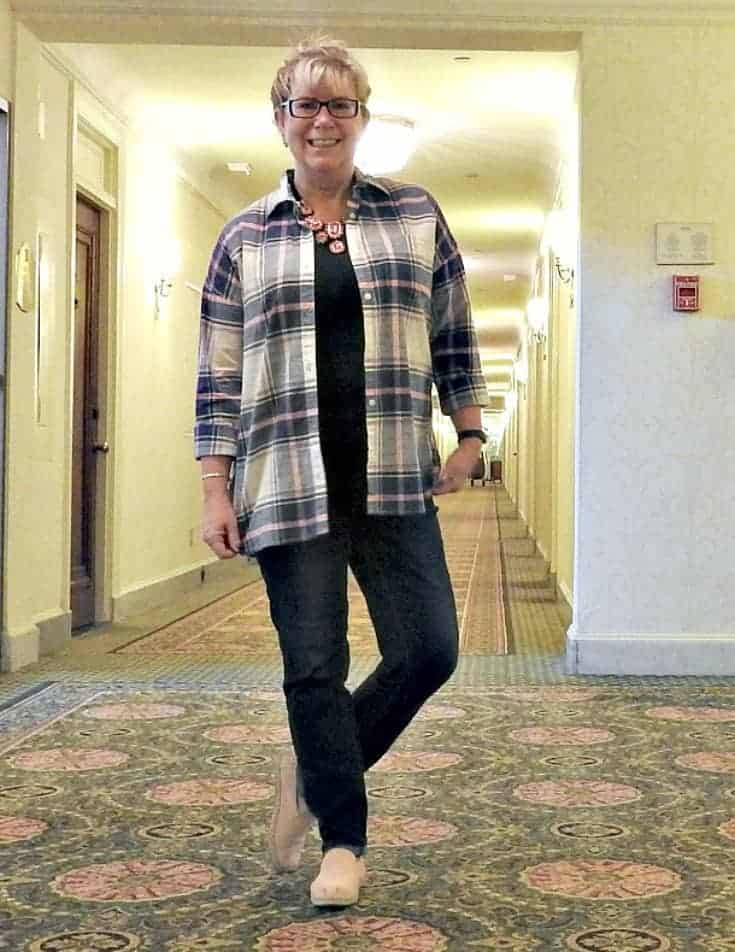 Old Navy Plaid and Haggar Dream Jeans with a Flaunt it 7 Charming Sisters necklace at the Chateau Laurier