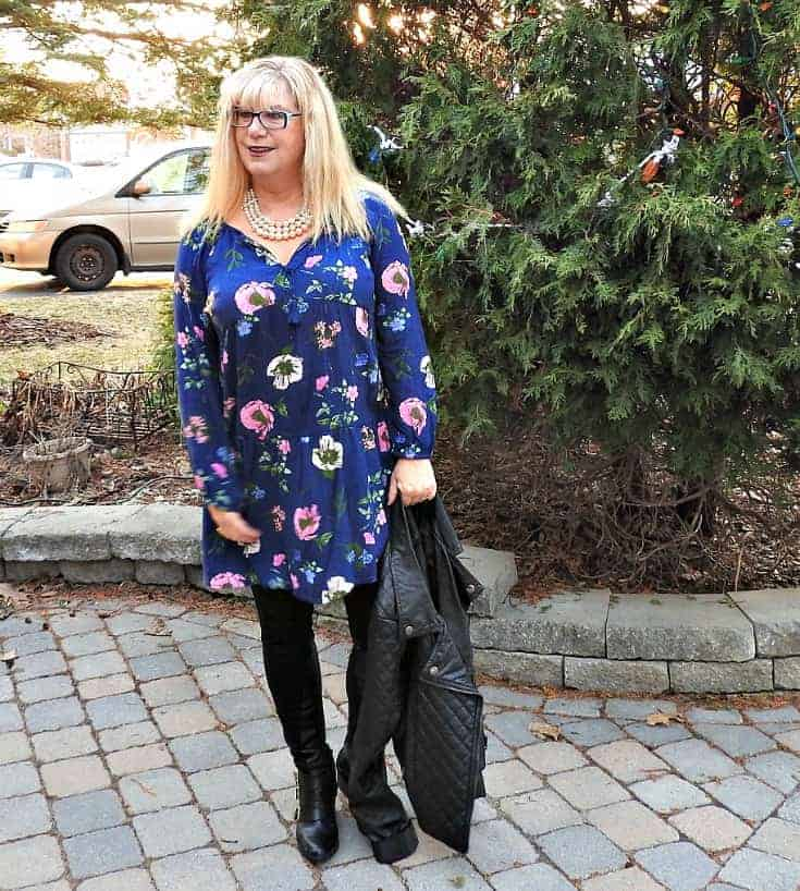 Wednesday Floral in Old Navy Floral Frock with a leather moto and pearls