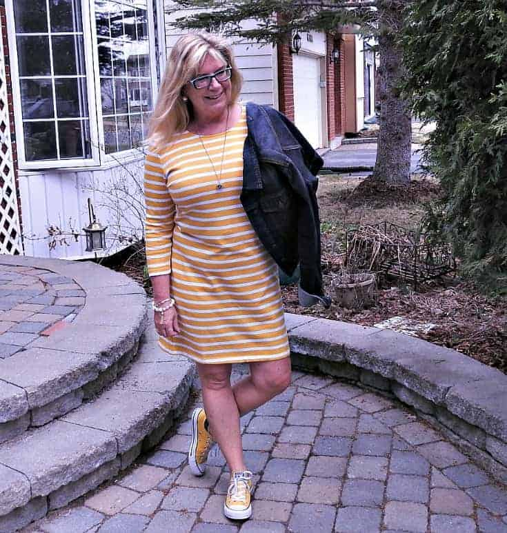 Old Navy Tee Dress with Stripes, Converse and a denim jacket and a 7 charming sister necklace