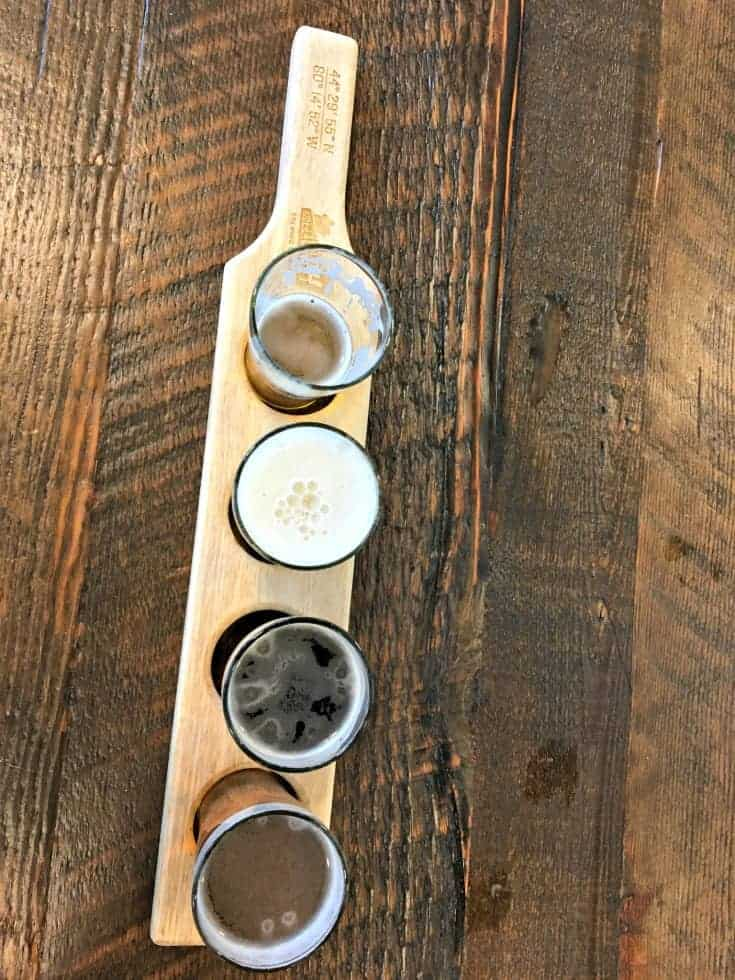 view of a flight from Side launch Brewery in Collingwood