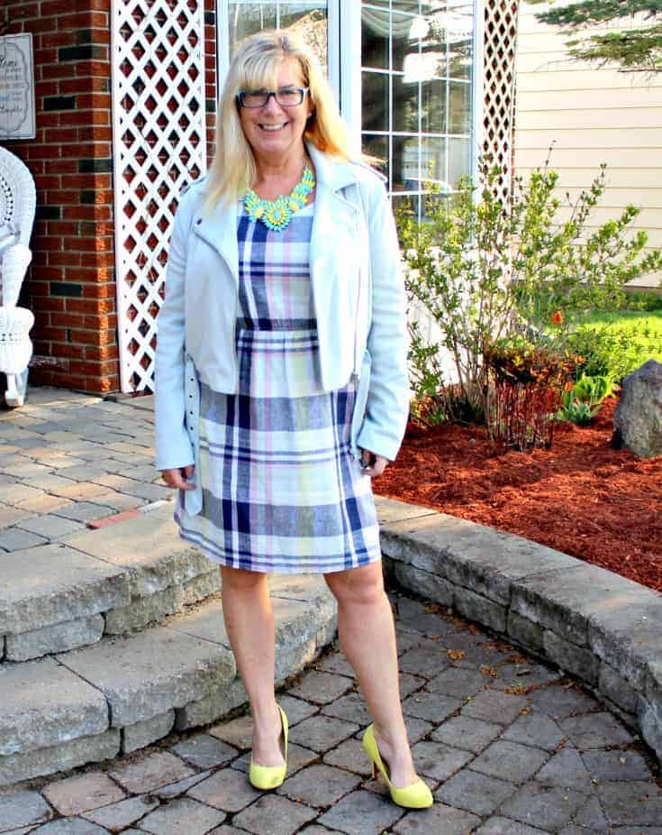 Old Navy Plaid Linen Dress, Forever 21 Moto Jacket and Shoe Dazzle Signature Soles with a 7 Charming Sisters Necklace
