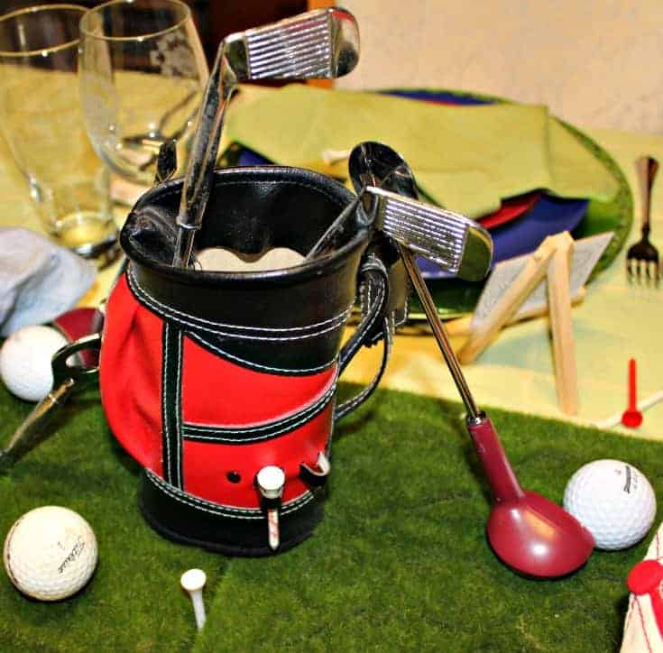 Fathers Day Golf Theme Table with a golf bag centrepiece