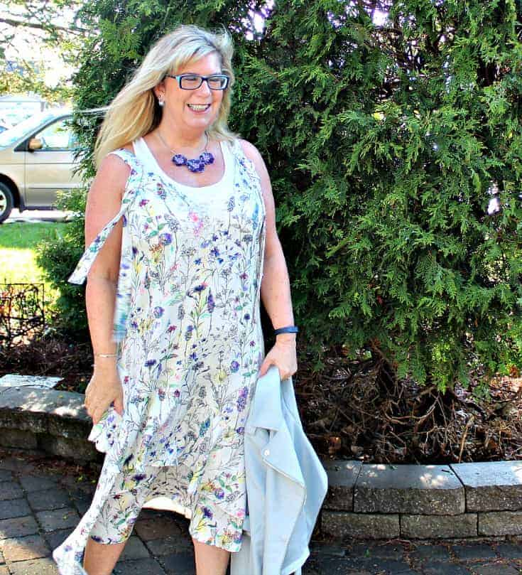 h&M floral dress with striped shoe dazzle pumps and a moto jacket