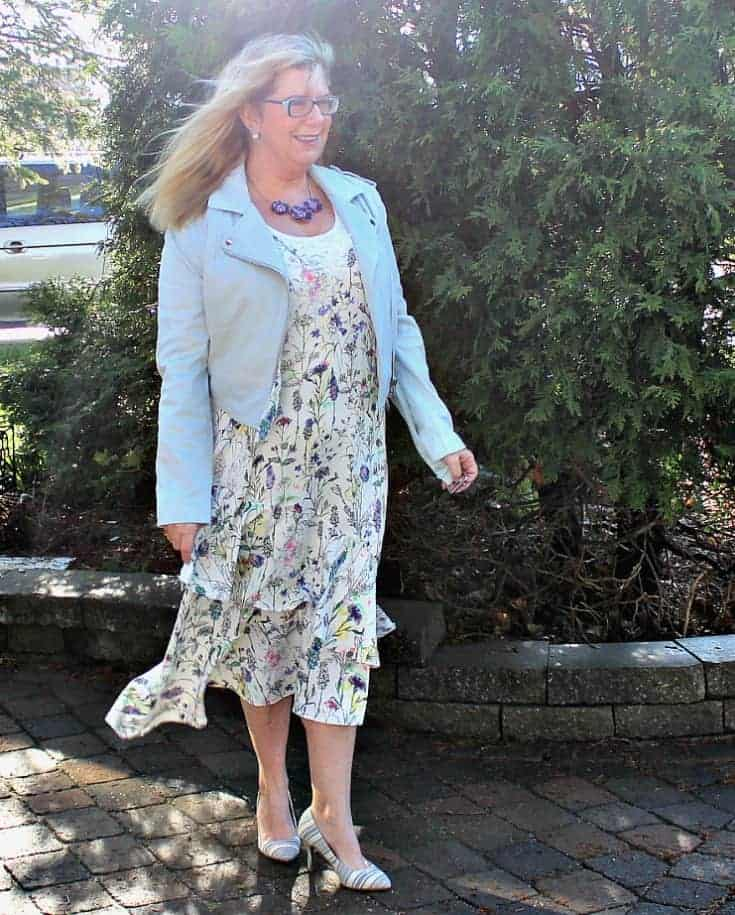powder blue moto from F 21 and h&M floral dress