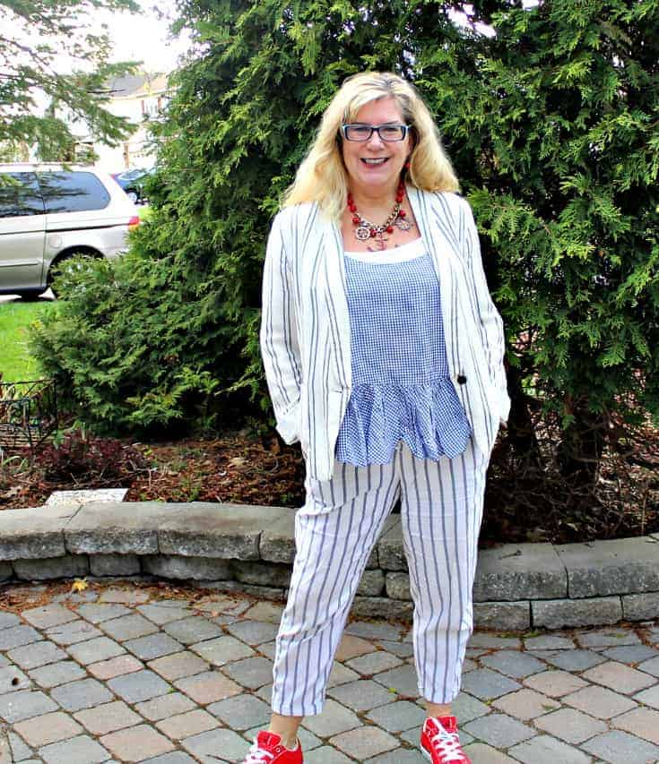 Old Navy peplum gingham cami with linen stripped pants and blazer and red converse