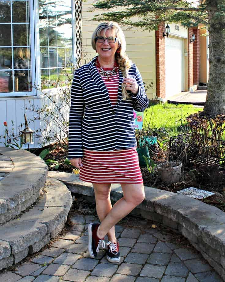 Old Navy Stripe dress with a contrasting navy blazer and two tone vans