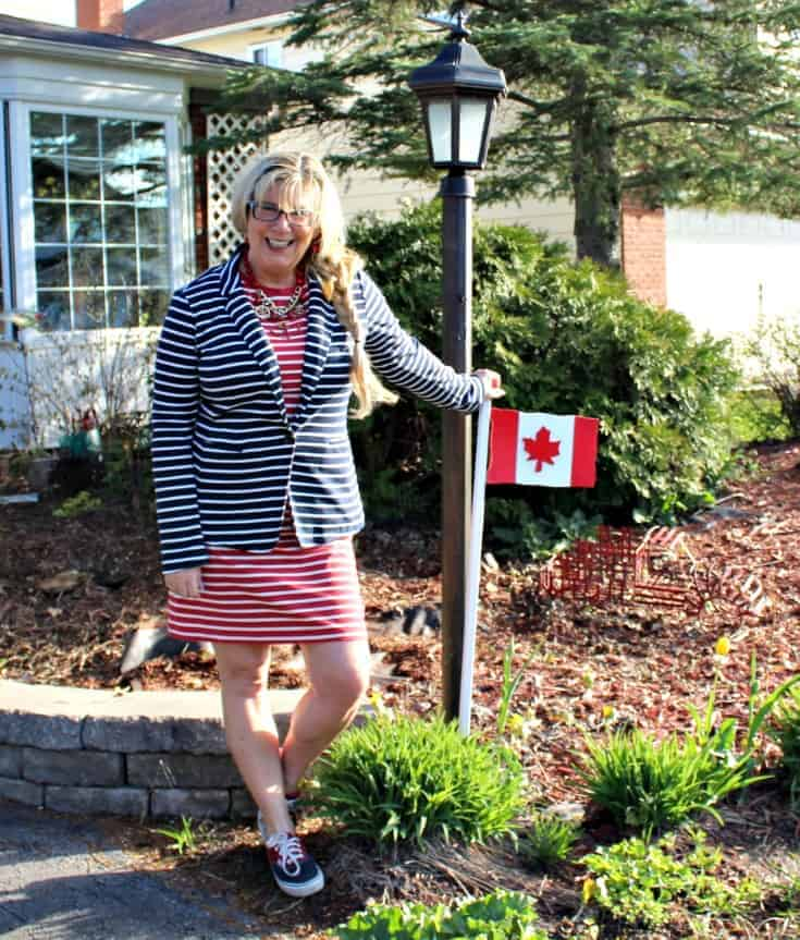 enjoying the sun in Old Navy Stripe dress with a contrasting blazer and two tone vans
