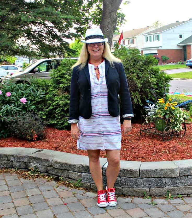 Red Couch Tour calls for a bit of red, Converse and a striped dress from Old Navy work with a fun fedora