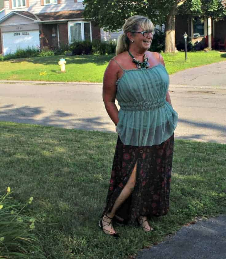 Eshakti skirt with a sage green cami and tie up kitten heels from Shoe Dazzle 2