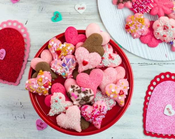 german spritz valentines cookies on a plate