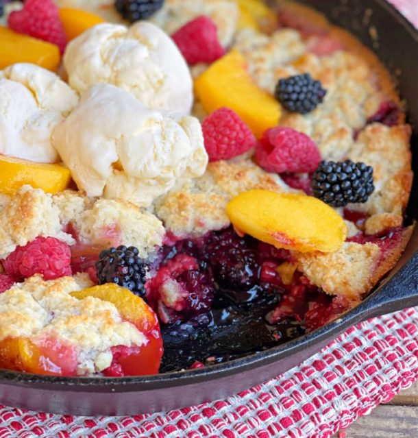 campfire berry cobbler in a dish