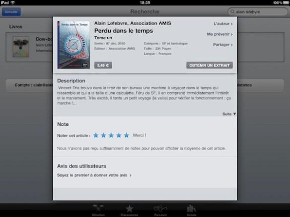 Perdu dans le temps - tome 1 désormais disponible sur l'iPad...