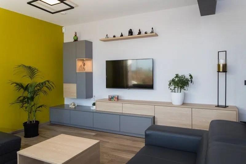 meuble tv et meuble bar en stratifie decor bois et gris alain rosen