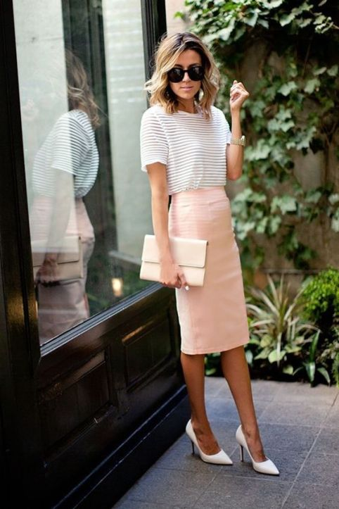 Pink Pencil Skirt Work Outfit