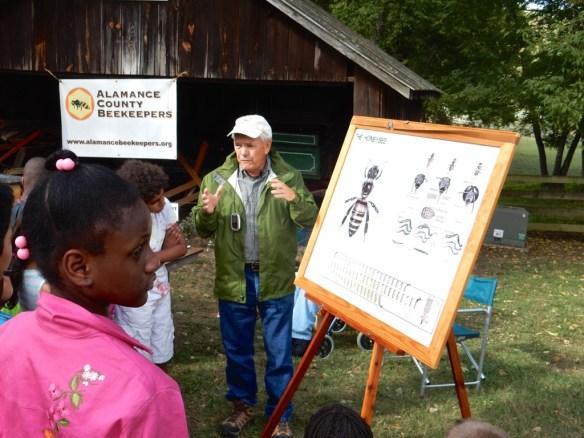 Tony Abbruzzi captivates the students attention with honey bee flight facts.