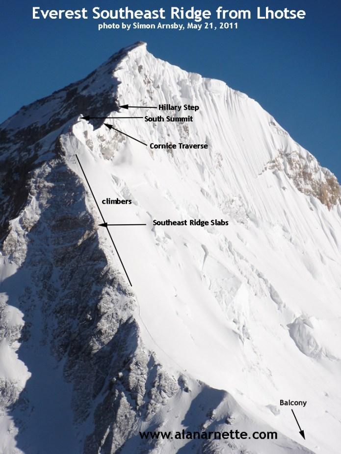 Everest Southeast Ridge in 2011 as seen from Lhotse