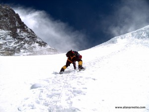 Setting the Fixed rope on the Lhotse Face on Everest