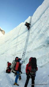 Ladders at the top of the Khumbu Icefall before earthquakeLadders at the top of the Khumbu Icefall before earthquake