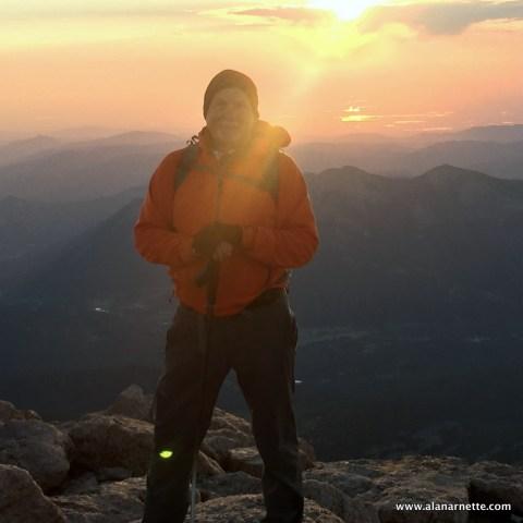 Alan Arnette on his 60th birthday on the summit of Longs Peak, 14259' in Colorado