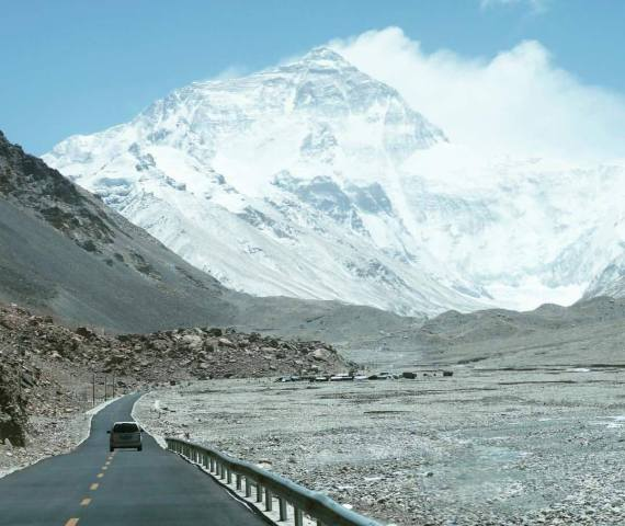 Paved road to Everest Base Camp in China. courtesy of Adventure Peaks