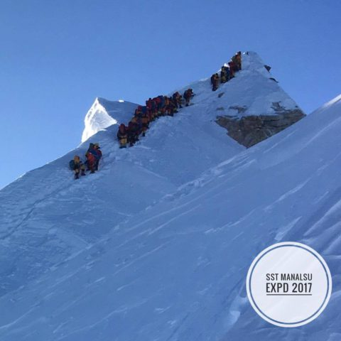 Queuing for Manaslu summit in 2017. Courtesy of Seven Summits Treks