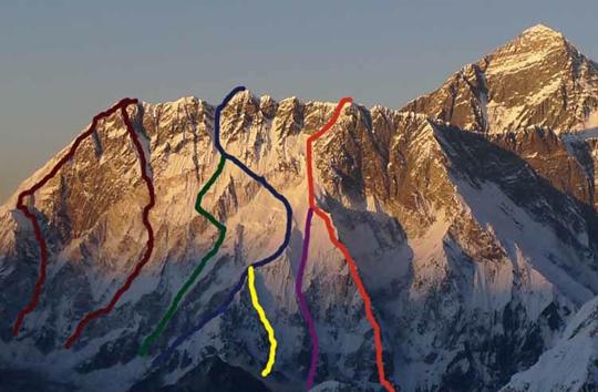 Nuptse South Face. Courtsey of Alpinist Magazine