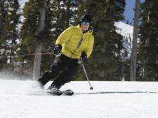 George Basch skiing on 80th birthday