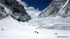Western Cwm with Everest (left), Lhotse (center) and Nuptse (right). Camp 1 in the foreground