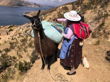 Bolivian lady with her llama and puppy on Isla del Sol Bolivia.jpg