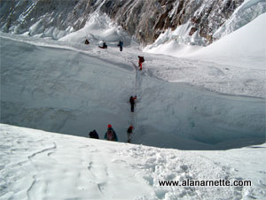 Western Cwm crevasse climb