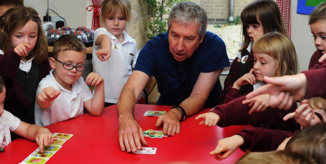 Alana's animals' designer, Matt Tidbury, showing how to play the game