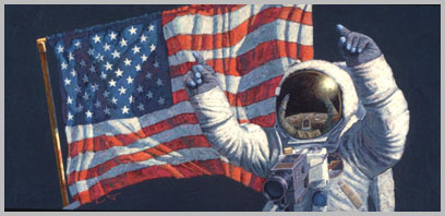 Neil Armstrong, with arms raised, celebrates in front of the flag