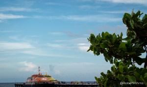 Puerto en Cancún. El horizonte lleno de mar, el cielo azul y el intenso verde de la naturaleza.