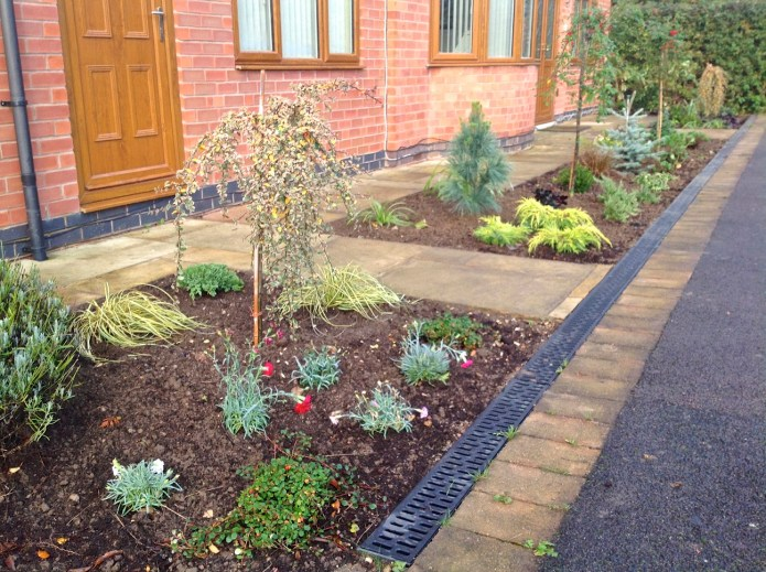 Newly planted front flower border.