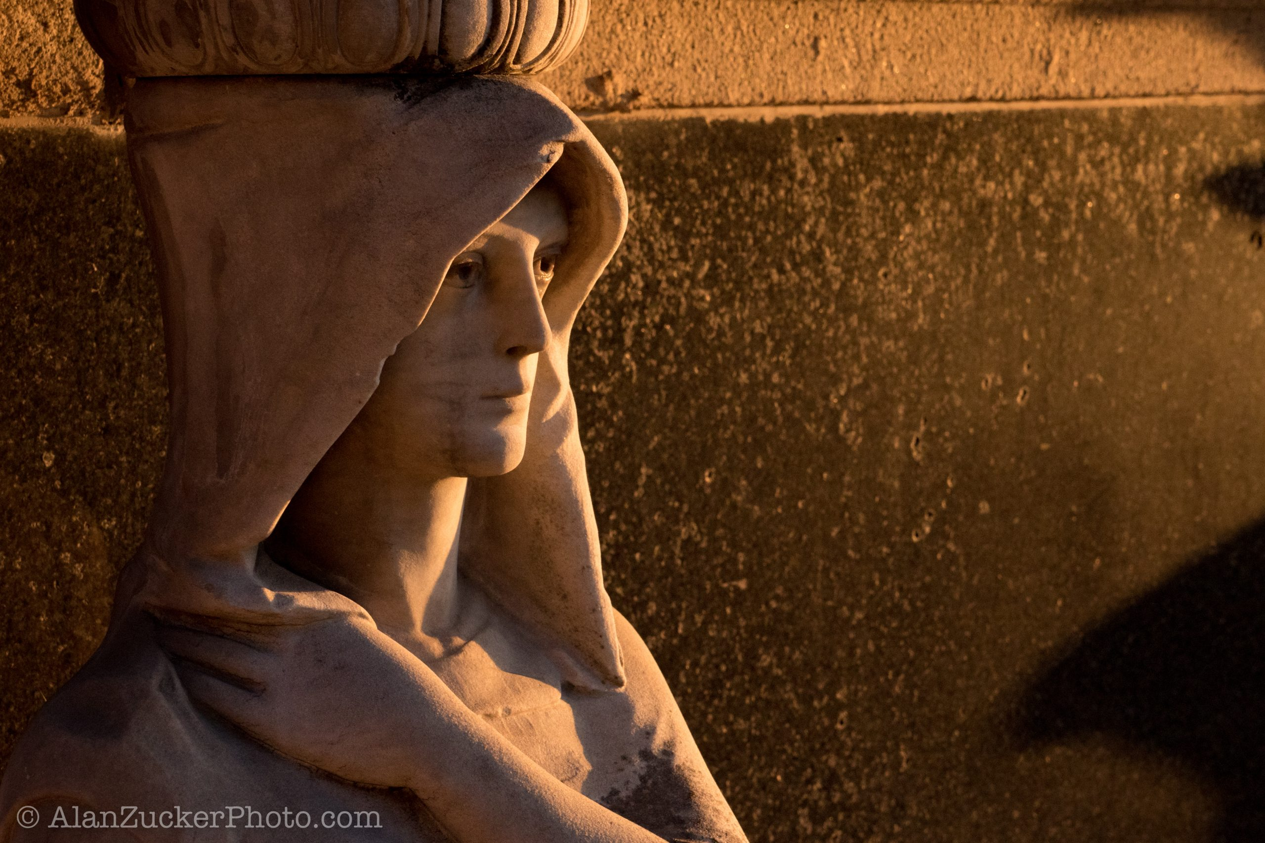 sunset, statue, tear-stained eye