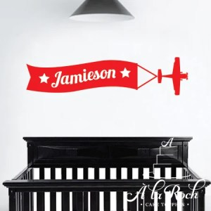 Kids Interior Wall Decor - plane with custom message