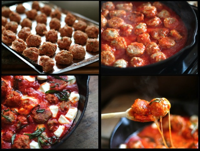 Turkey Meatballs in Spicy Tomato Basil Sauce with Fresh Mozzarella