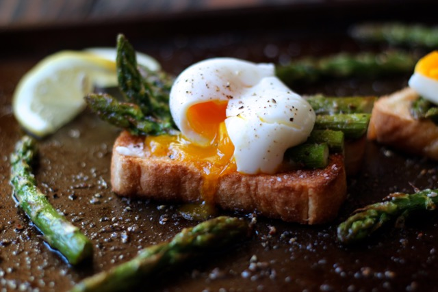 soft boiled eggs with asparagus on toast