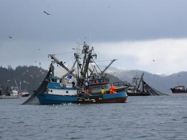 Fishing Vessels at Work in Alaska