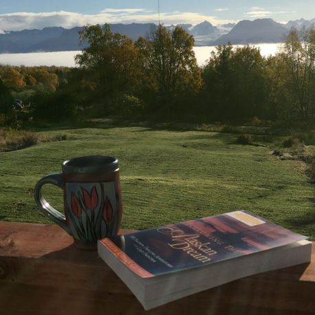 View from deck with coffee and book