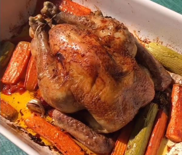 Recette de poulet rôti aux petits légumes