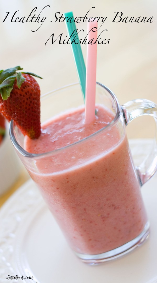 This homemade strawberry banana milkshake recipe is lighter than a traditional milkshake recipe! Frozen bananas replace the ice cream in this recipe, giving this healthy strawberry banana milkshake a thick texture that is naturally sweetened!