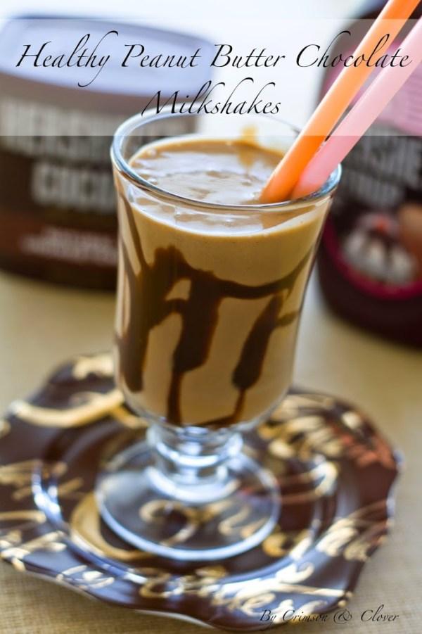 Healthy Peanut Butter Chocolate Milkshakes