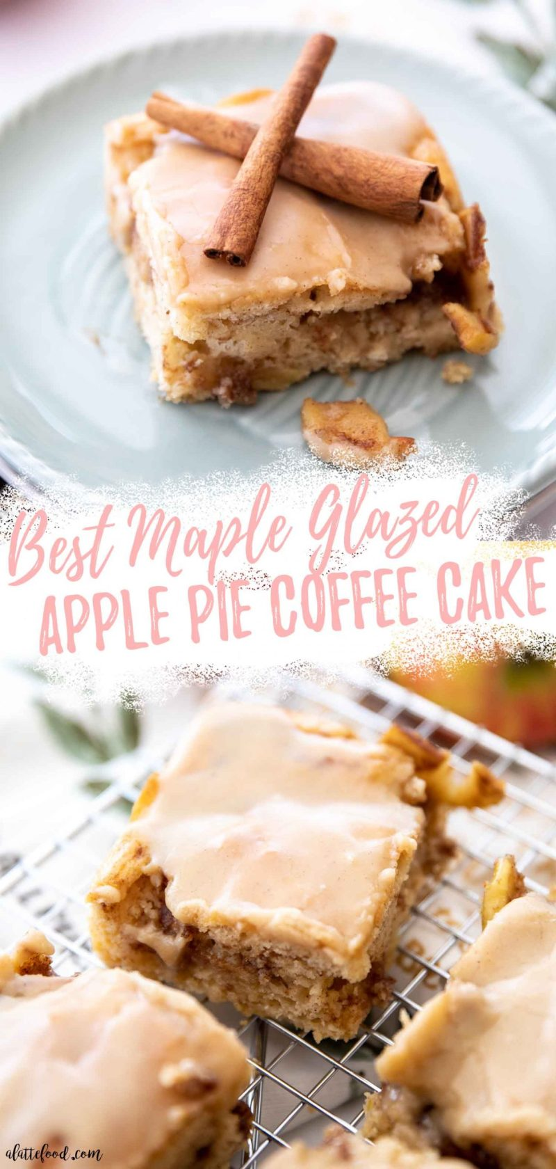 collage with text of maple glazed apple coffee cake