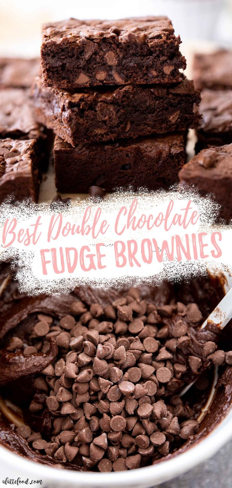 stack of double chocolate fudge brownies and brownie batter in a white bowl collage