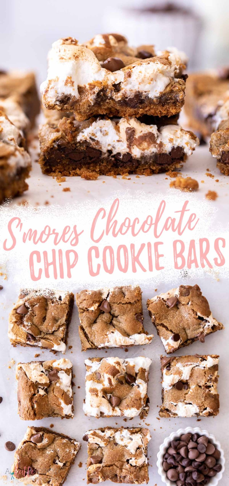 s'mores chocolate chip cookie bars with marshmallow fluff and graham cracker crust on parchment paper