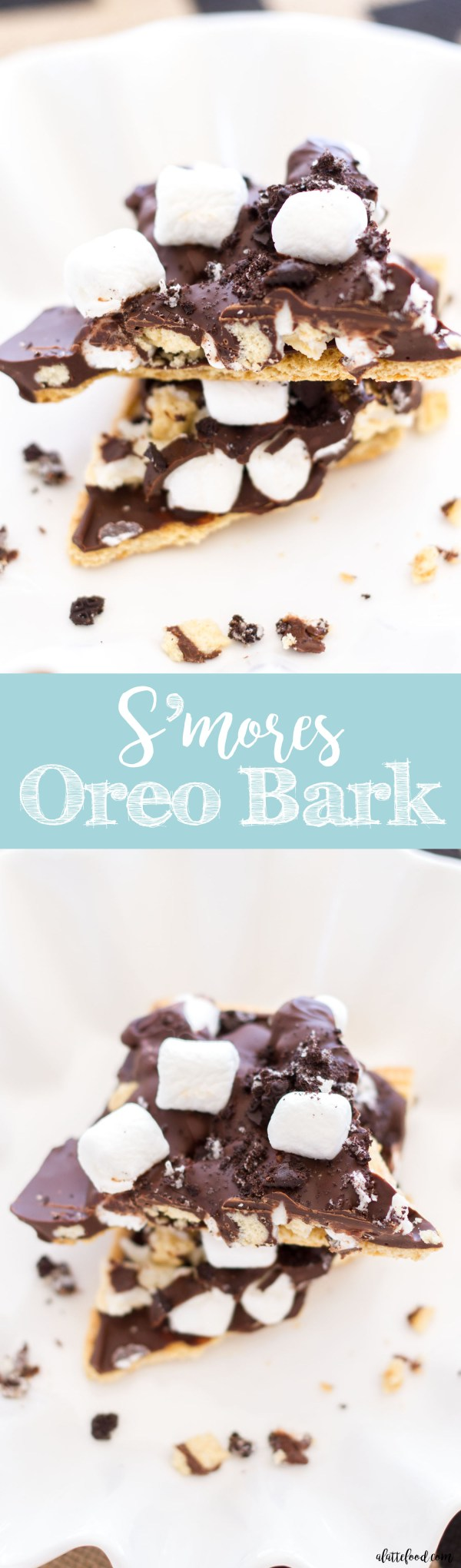 This easy s'mores oreo bark recipe is full of the classic s'more flavors! The perfect summer snack or dessert!