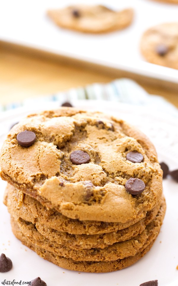 Gluten-Free Peanut Butter Chocolate Chip Cookies: With no butter or flour, these peanut butter chocolate chip cookies are chewy, perfectly chocolatey, and on the healthier side! About 180 calories per cookie.