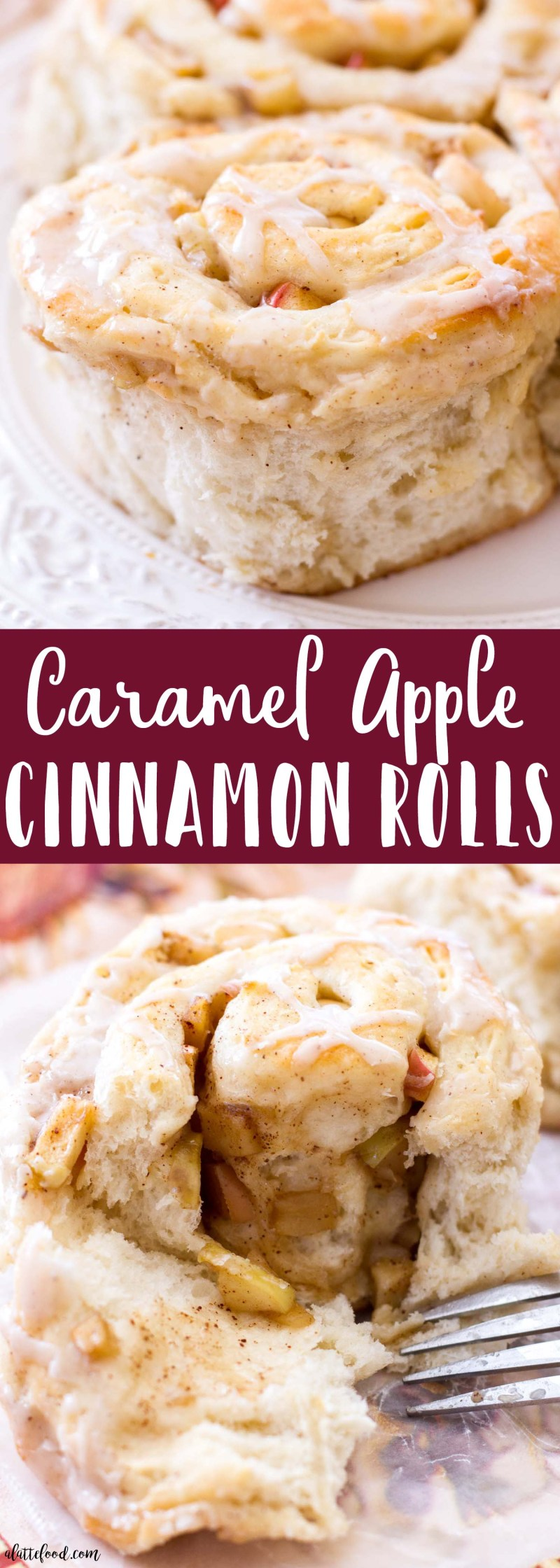 These homemade cinnamon rolls are full of cinnamon apples and rich caramel flavor. These Caramel Apple Cinnamon Rolls make the perfect fall breakfast, as they taste amazing and are such an easy cinnamon roll recipe! Perfect for Thanksgiving too!