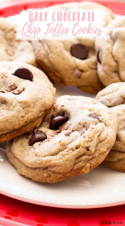 dark chocolate toffee cookies on white plate